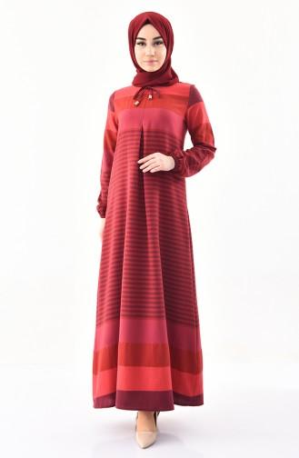 A Pile Çizgili Elbise 4082-01 Bordo