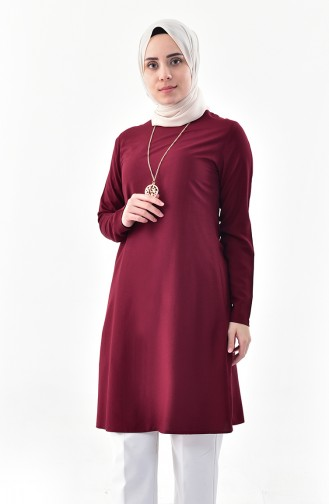 Sude Necklace Detailed Tunic 3164-09 Cherry 3164-09
