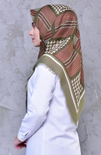 Patterned Cotton Scarf 2191-02 light Green 2191-02