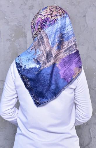 شال رايون بتصميم مُطبع 2196-05 لون ازرق فاتح وليلكي داكن 2196-05