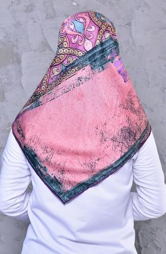 شال رايون بتصميم مُطبع 2196-10 لون ليلكي وزهري 2196-10