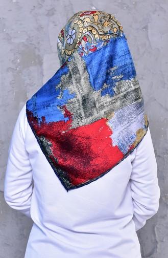 شال رايون بتصميم مُطبع 2196-11لون ازرق ورمادي فاتح 2196-11