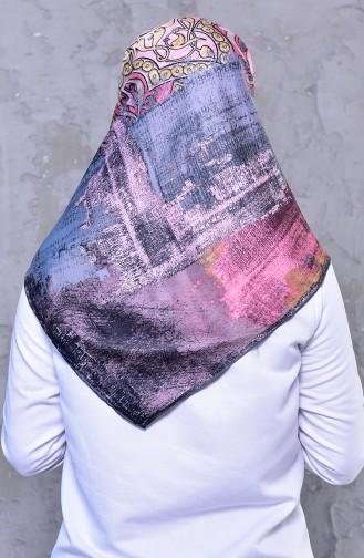 شال رايون بتصميم مُطبع 2196-12 لون رمادي ووردي داكن 2196-12