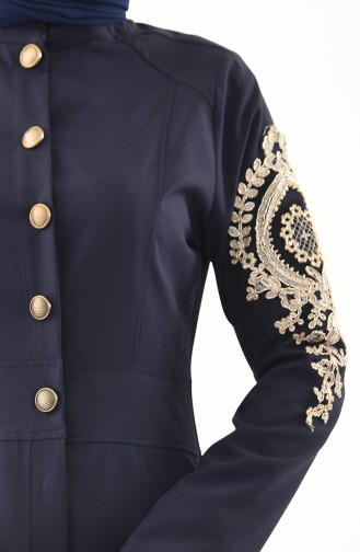 MISS VALLE Lacy Abaya 0136-01 Navy Blue 0136-01