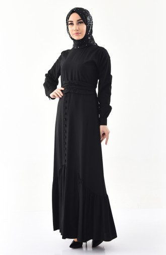 Button Detailed Belted Dress 2027-05 Black 2027-05