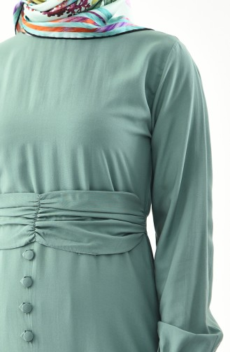 Button Detailed Belted Dress 2027-07 Green 2027-07
