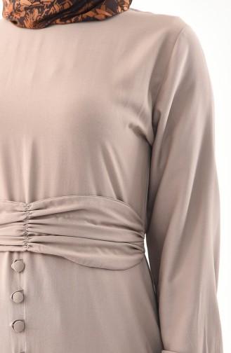 Button Detailed Belted Dress 2027-09 Mink 2027-09