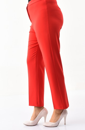Büyük Beden Düz Paça Pantolon 1110-11 Kırmızı