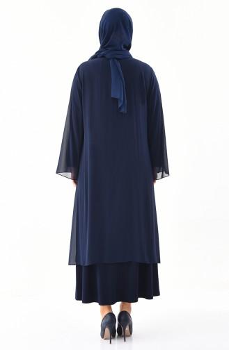 Plus Size Double Evening Dress 2412-01 Navy Blue 2412-01
