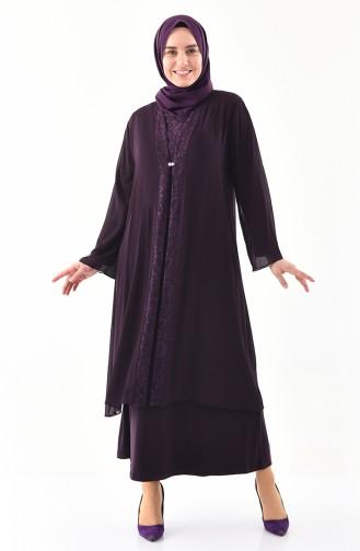 Büyük Beden İkili Takım Abiye Elbise 2412-03 Mor