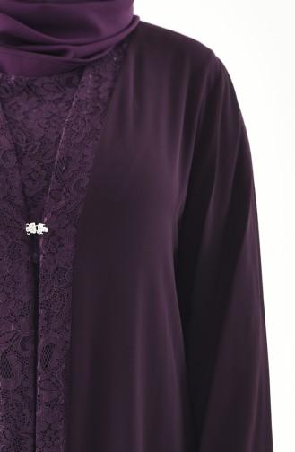 Plus Size Double Dress Evening Dress 2412-03 Purple 2412-03