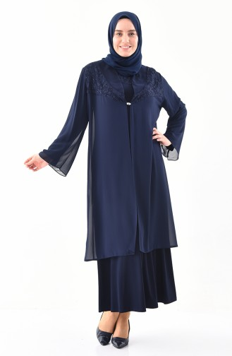 Robe de Soirée Deux Pieces Grande Taille 2415-03 Bleu Marine 2415-03