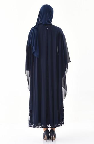 Robe de Soirée Pierre Imprimée Grande Taille 4022-01 Bleu Marine 4022-01