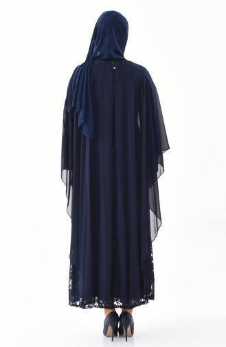 Large Size Stone Printed Evening Dress 4022-01 Navy 4022-01