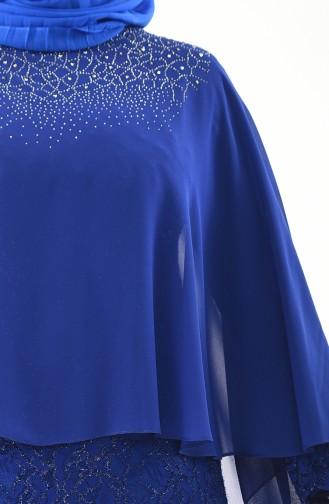 Large Size Stone Printed Evening Dress 4022-03 Saks 4022-03