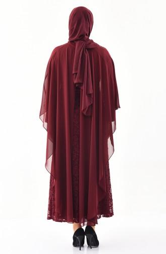 Büyük Beden Taş Baskılı Abiye Elbise 4022-04 Bordo 4022-04