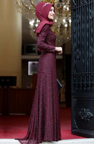 Belted Evening Dress 3190-02 Bordeaux 3190-02