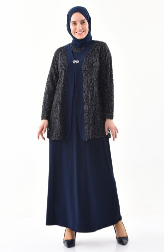 METEX Large Size Brooch Evening Dress 1111-02 Navy Blue 1111-02