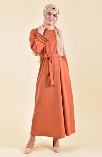 Taş Detaylı Kuşaklı Elbise 0887-02 Soğan Kabuğu