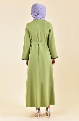 Taş Detaylı Kuşaklı Elbise 0887-03 Fıstık Yeşili