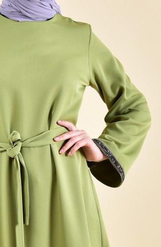 Taş Detaylı Kuşaklı Elbise 0887-03 Fıstık Yeşili 0887-03