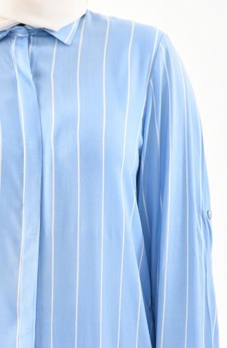Büyük Beden Çizgili Tunik 1921-01 Bebe Mavisi 1921-01