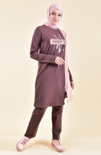 بي وست بدلة رياضية بتصميم مُطبع 9012-02 لون بُني 9012-02
