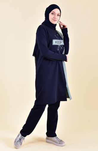 BWEST Printed Tracksuit 9012-04 Navy 9012-04