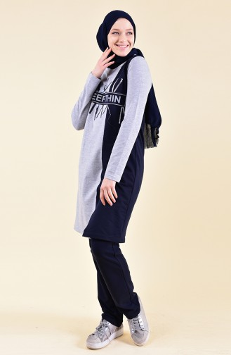 BWEST Printed Tracksuit 9012-05 Gray 9012-05