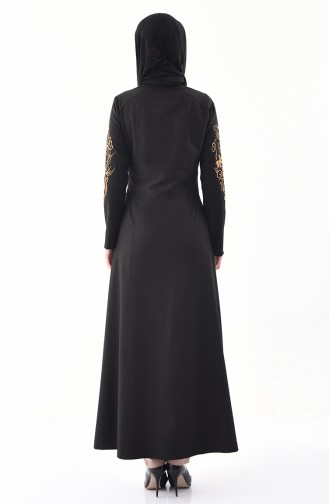 MISS VALLE Embroidered Buttoned Abaya 0135-01 Black 0135-01