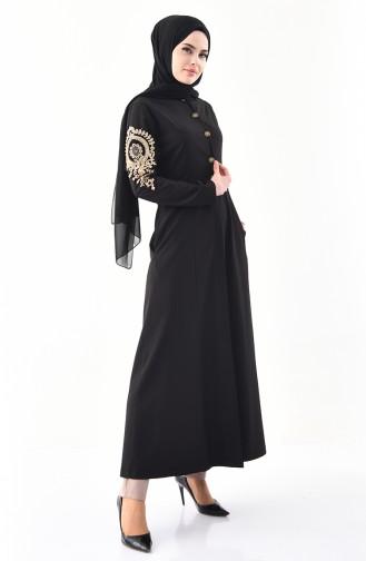 MISS VALLE Lacy Abaya 0136-04 Black 0136-04