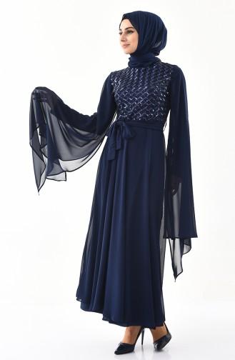 Payetli Abiye Elbise 81668-08 Lacivert