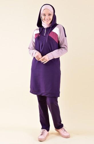 بي وست بدلة رياضية بتصميم موصول بقبعة 8331-04 لون بنفسجي 8331-04