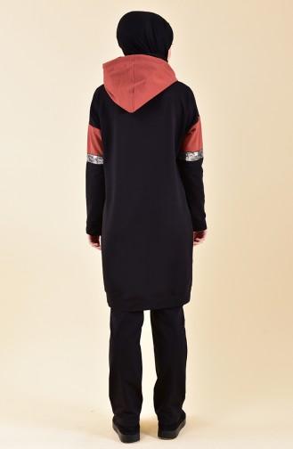 Garnili Eşofman Takım 8397-05 Siyah Kiremit