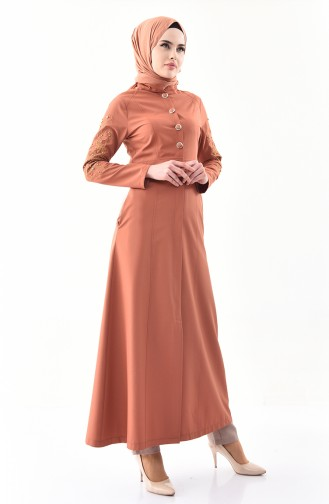 MISS VALLE Embroidered Buttoned Abaya 0135-02 Onion Shell 0135-02