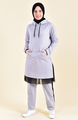 Tulle Detailed Tracksuit 3002-01 Gray 3002-01
