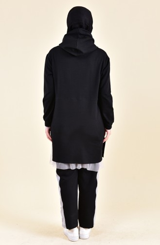 Tulle Detailed Tracksuit 3002-02 Black 3002-02