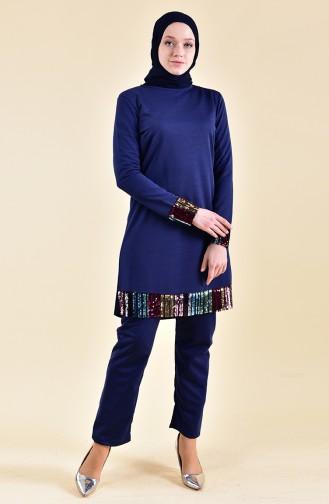 Payetli Tunik Pantolon İkili Takım 9008-01 Lacivert 9008-01