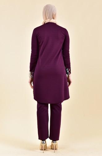 Sequined Tunic Pants Binary Suit 9008-03 Plum 9008-03
