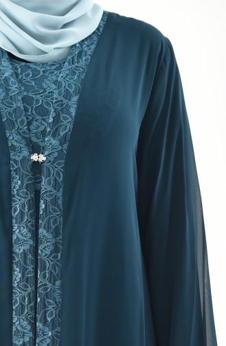 Plus Size Double Dress Evening Dress 2412-04 Emerald Green 2412-04