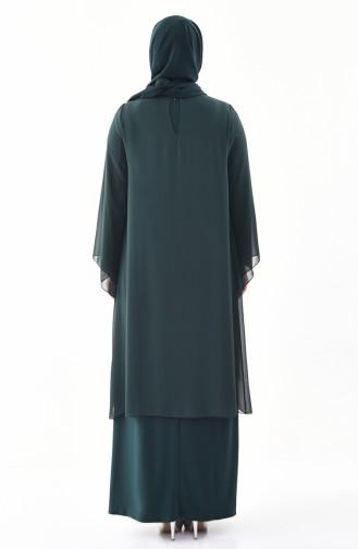 Büyük Beden Taş Baskılı Abiye Elbise 1296-01 Zümrüt Yeşili