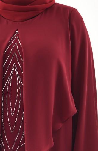 فستان سهرة بتصميم مُطبع باحجار لامعة وبمقاسات كبيرة 1296-03 لون خمري 1296-03