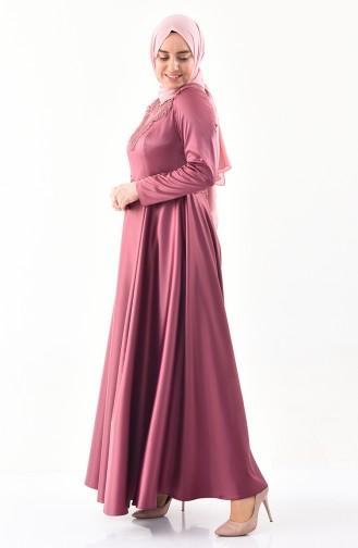 Robe de Soirée à Dentelle Grande Taille 1300-02 Rose Pâle 1300-02