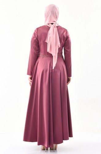 Büyük Beden Dantelli Abiye Elbise 1300-02 Gül Kurusu