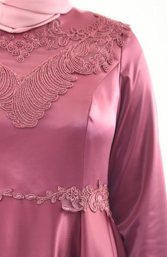 Plus Size Lace Evening Dress 1300-02 dry Rose 1300-02