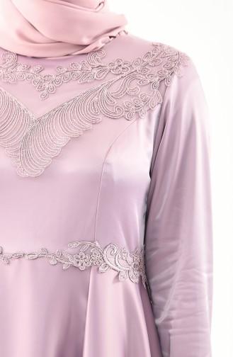 Plus Size Lace Evening Dress 1300-03 Powder 1300-03
