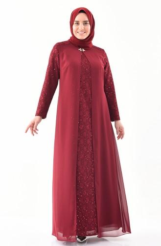 Large Size Brooch Evening Dress 1301-01 Plumed 1301-01