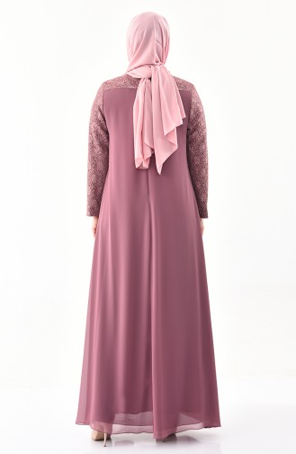 Large Size Brooch Evening Dress 1301-02 dry Rose 1301-02