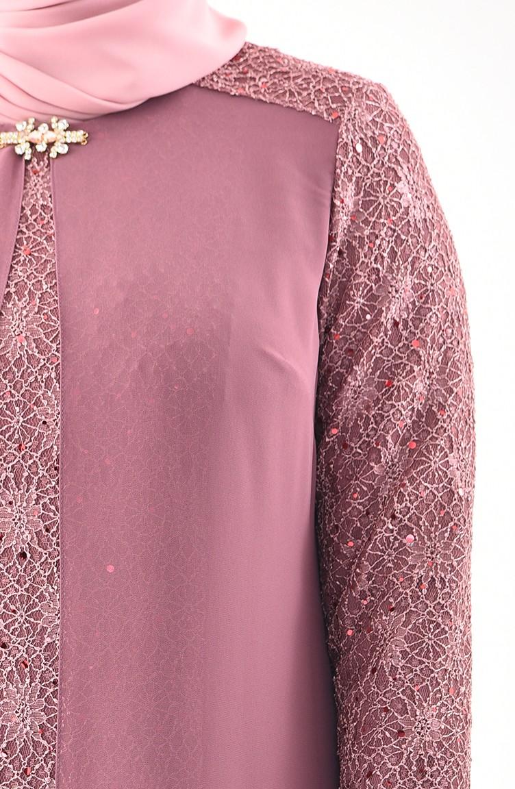 Avec 02 Robe De Pâle Taille Grande 1301 Soirée Rose Broche LSUzpMGqV