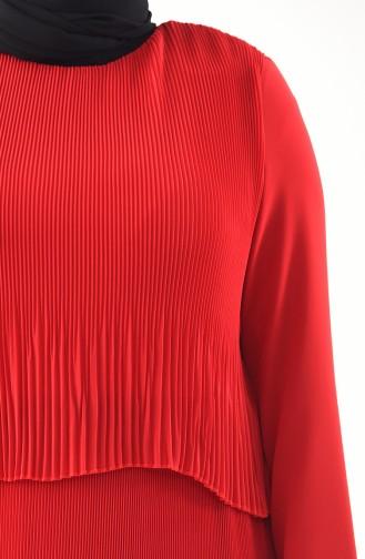 Piliseli Elbise 7216-04 Kırmızı
